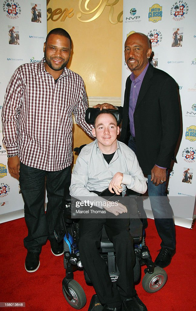 Actor Anthony Anderson, 'All in for CP ' founder Jacob Zalewski and TV personality Montel Williams attend the 5th Annual 'All in for CP' Celebrity Poker tournament at the Venetian Hotel and Casino Resort on December 8, 2012 in Las Vegas, Nevada.