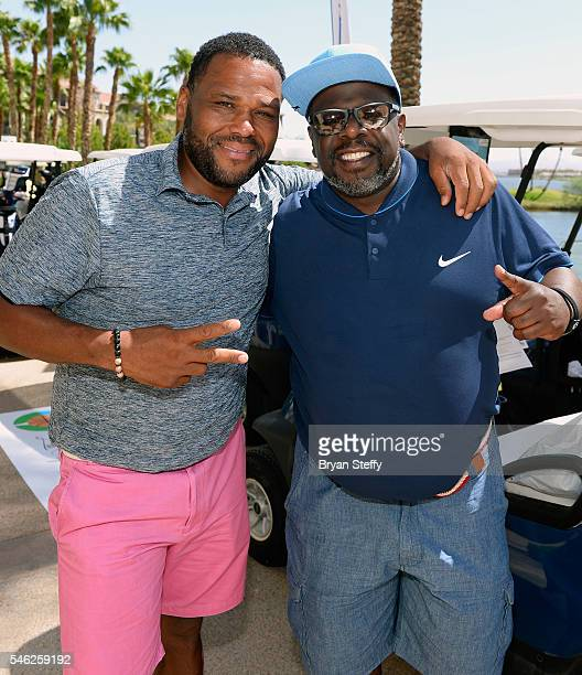 Actor Anthony Anderson and actor/comedian Cedric The Entertainer attend the Coach Woodson Las Vegas Invitational Golf Tournament at Reflection Bay...