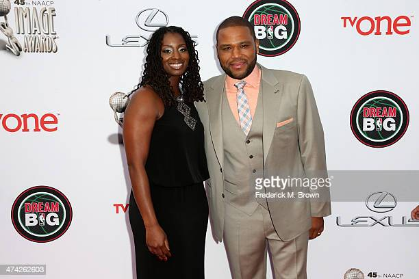 Actor Anthony Anderson and wife Alvina Stewart attend the 45th NAACP Image Awards presented by TV One at Pasadena Civic Auditorium on February 22...