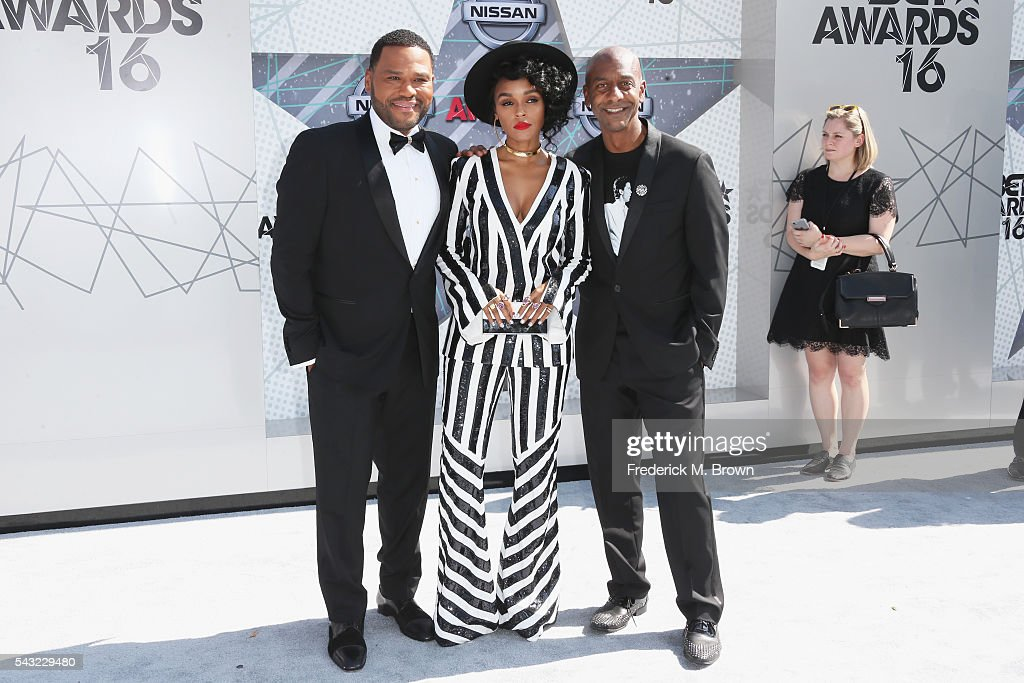 Actor Anthony Anderson singer Janelle Monae and BET President of Programming Stephen Hill attend the 2016 BET Awards at the Microsoft Theater on June...