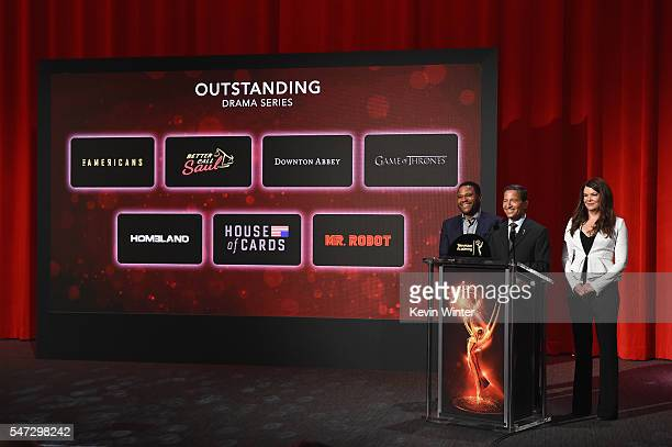 Actor Anthony Anderson Television Academy Chairman CEO Bruce Rosenblum and actress Lauren Graham present the 68th Emmy Awards nominations...