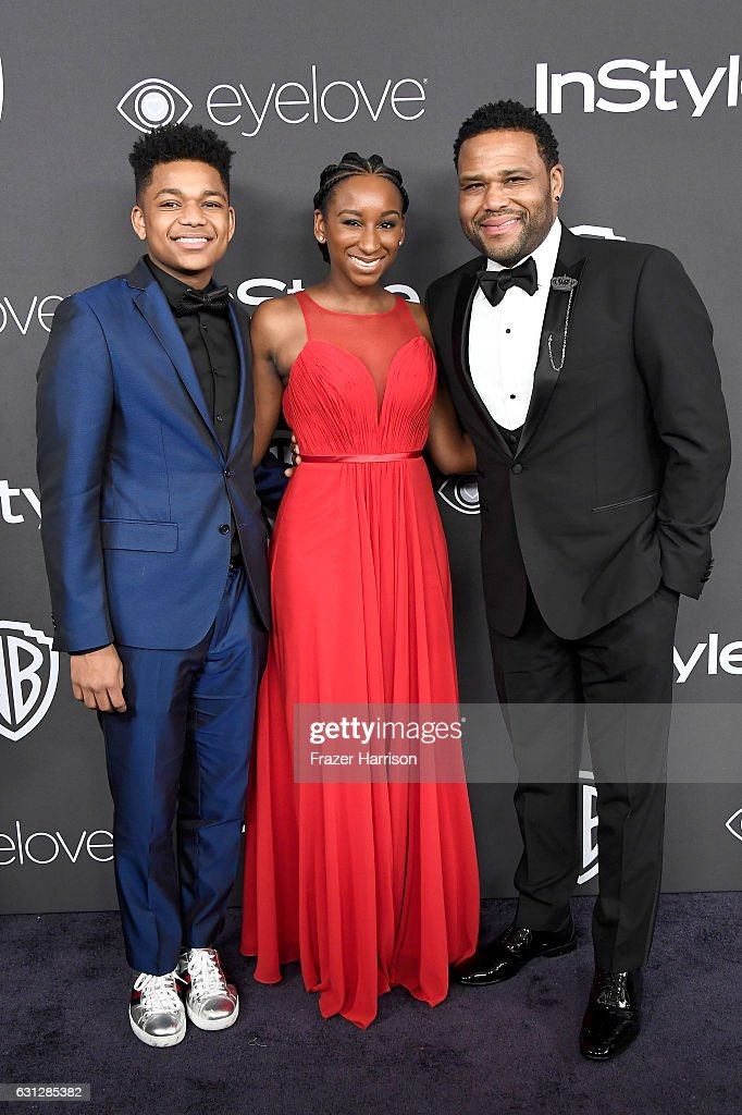 Actor Anthony Anderson (R) with Nathan Anderson and Kyra Anderson attend the 18th Annual Post-Golden Globes Party hosted by Warner Bros. Pictures and InStyle at The Beverly Hilton Hotel on January 8, 2017 in Beverly Hills, California.