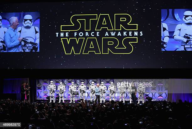 Actor Anthony Daniels and moderator Anthony Breznican speak onstage during Star Wars Celebration 2015 on April 16 2015 in Anaheim California