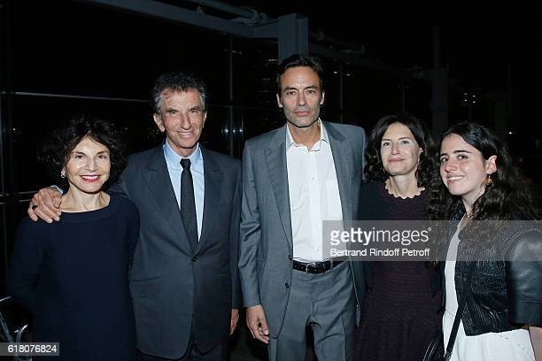Actor Anthony Delon standing between Jack Lang his wife Monique Lang their daughter Caroline Lang and their Granddaughter Anna attend the Japenese...