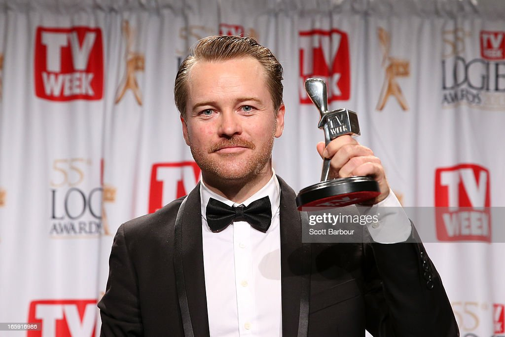 Actor Anthony Hayes celebrates winning the logie for Most Outstanding Actor at the 2013 Logie Awards at the Crown Palladium on April 7, 2013 in Melbourne, Australia.