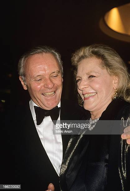 Actor Anthony Hopkins and actress Lauren Bacall attend a Merchant Ivory function at Carnegie Hall New York 5th August 1996