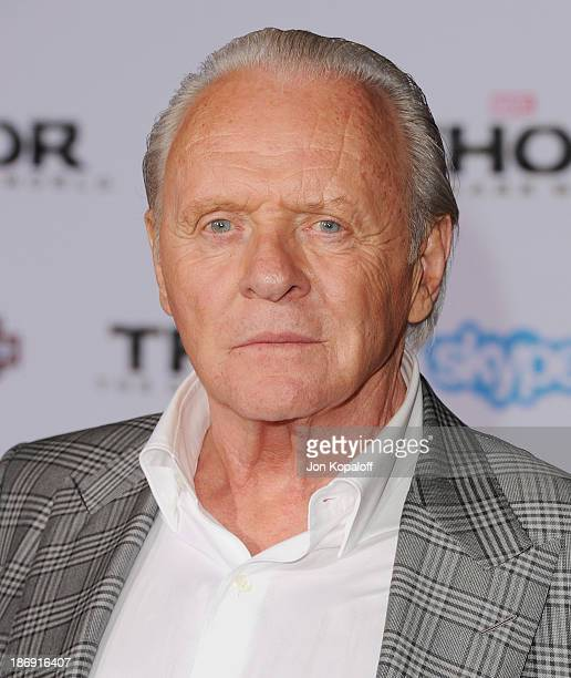 Actor Anthony Hopkins arrives at the Los Angeles Premiere 'Thor The Dark World' at the El Capitan Theatre on November 4 2013 in Hollywood California