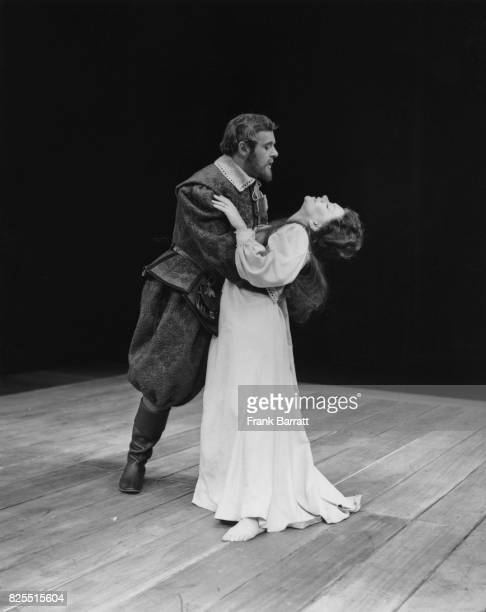 Actor Anthony Hopkins as John Frankford and Joan Plowright as Anne in a rehearsal for the play 'A Woman Killed With Kindness' at the Old Vic in...