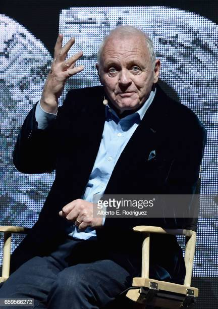 Actor Anthony Hopkins speaks onstage at CinemaCon 2017 Paramount Pictures Presentation Highlighting Its Summer of 2017 and Beyond at The Colosseum at...