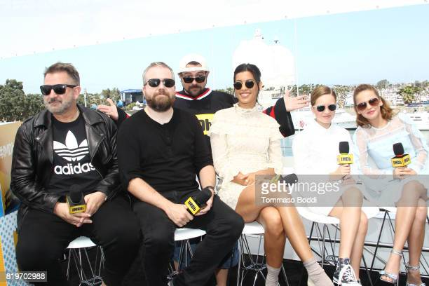 Actor Anthony LaPaglia director David F Sandberg host Kevin Smith actors Stephanie Sigman Lulu Wilson and Talitha Bateman at the #IMDboat At San...