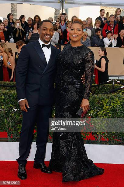 Actor Anthony Mackie and actress Queen Latifah attend the 22nd Annual Screen Actors Guild Awards at The Shrine Auditorium on January 30 2016 in Los...