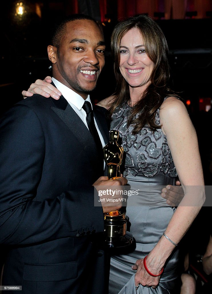 *EXCLUSIVE* Actor Anthony Mackie and director Kathryn Bigelow attend the 2010 Vanity Fair Oscar Party hosted by Graydon Carter at the Sunset Tower Hotel on March 7, 2010 in West Hollywood, California.