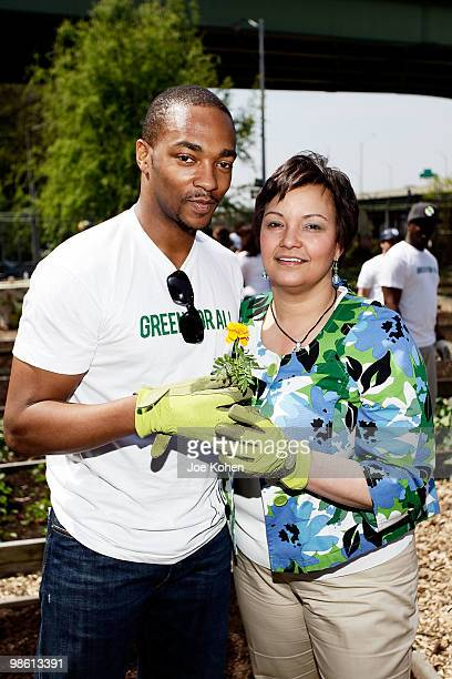 Actor Anthony Mackie and EPA Administrator Lisa Jackson participates in the Green For All Earth Day 'Dig In' at Riverside Valley Community Garden on...