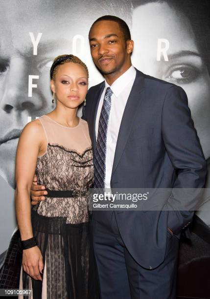Actor Anthony Mackie and girlfriend Sheletta Chapital attend the premiere of 'The Adjustment Bureau' at the Ziegfeld Theatre on February 14 2011 in...