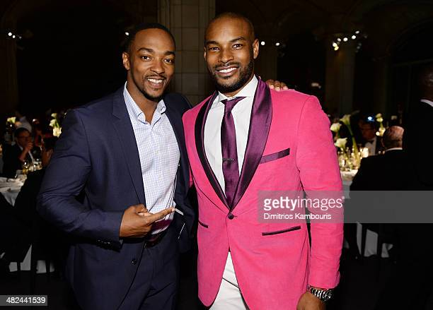 Actor Anthony Mackie and model Tyson Beckford attend Montblanc Celebrates 90 Years of the Iconic Meisterstuck on April 3 2014 at Guastavino's in New...