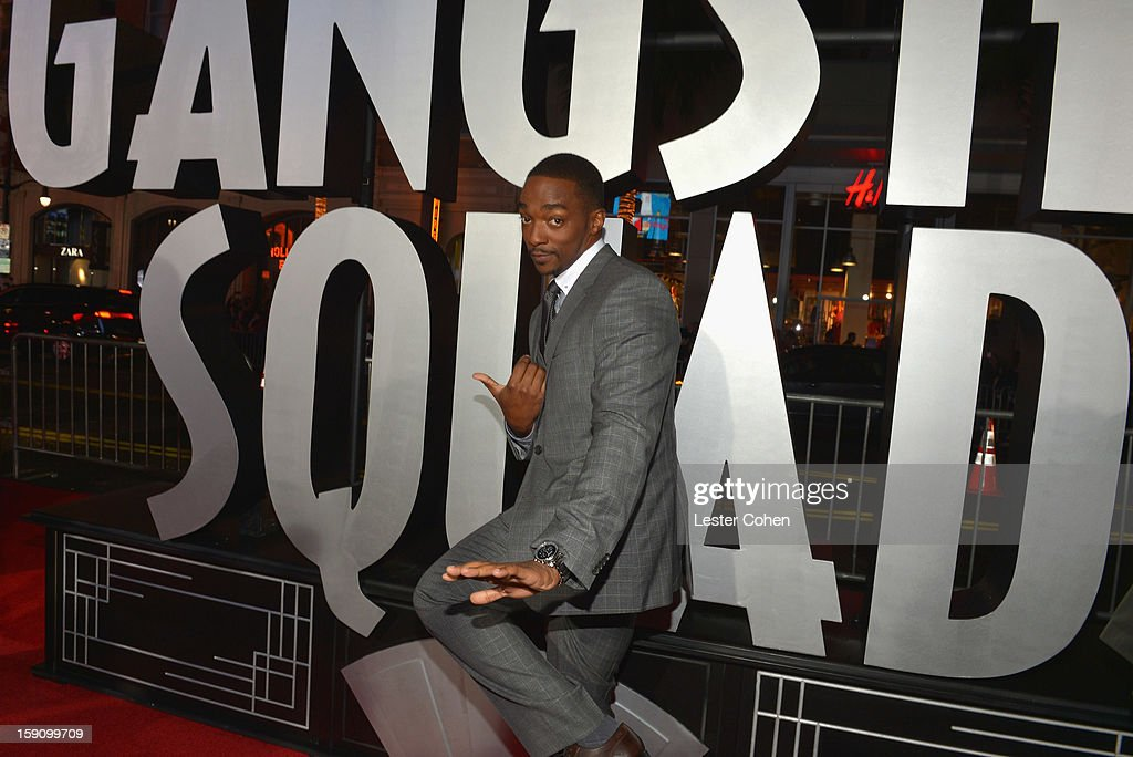 Actor Anthony Mackie arrives at the 'Gangster Squad' premiere at Grauman's Chinese Theatre on January 7, 2013 in Hollywood, California.