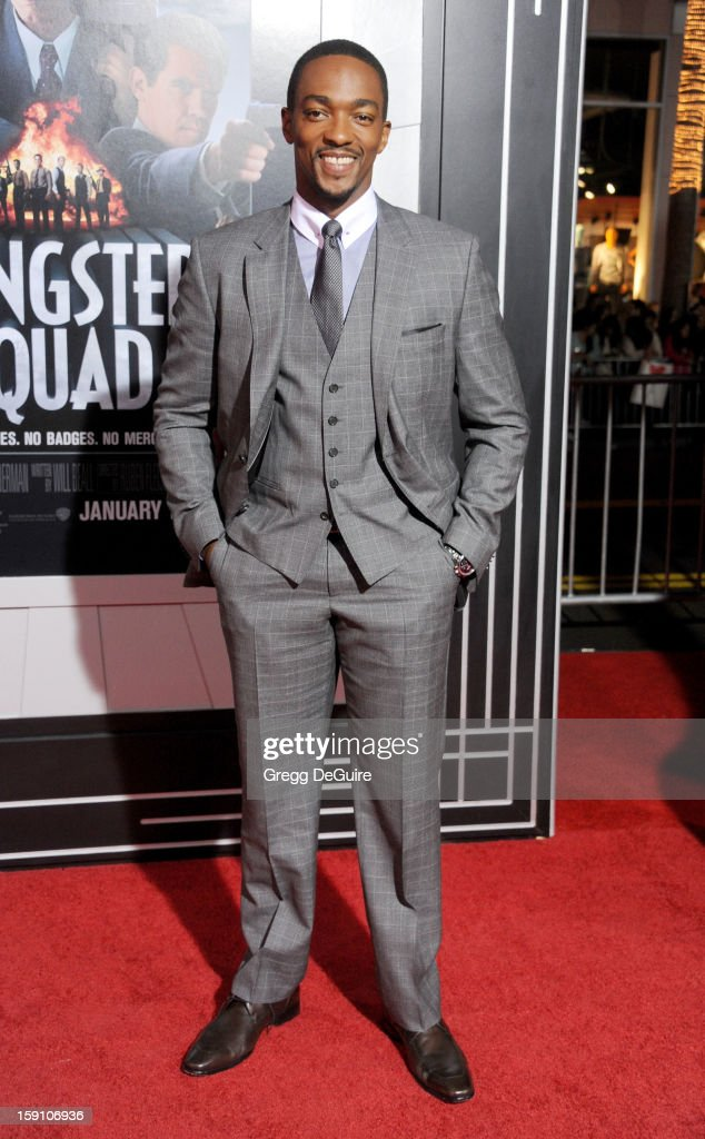 Actor Anthony Mackie arrives at the Los Angeles premiere of 'Gangster Squad' at Grauman's Chinese Theatre on January 7, 2013 in Hollywood, California.
