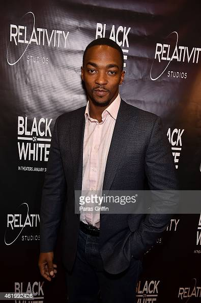 Actor Anthony Mackie attends 'Black or White' red carpet screening at Regal Atlantic Station on January 22 2015 in Atlanta Georgia