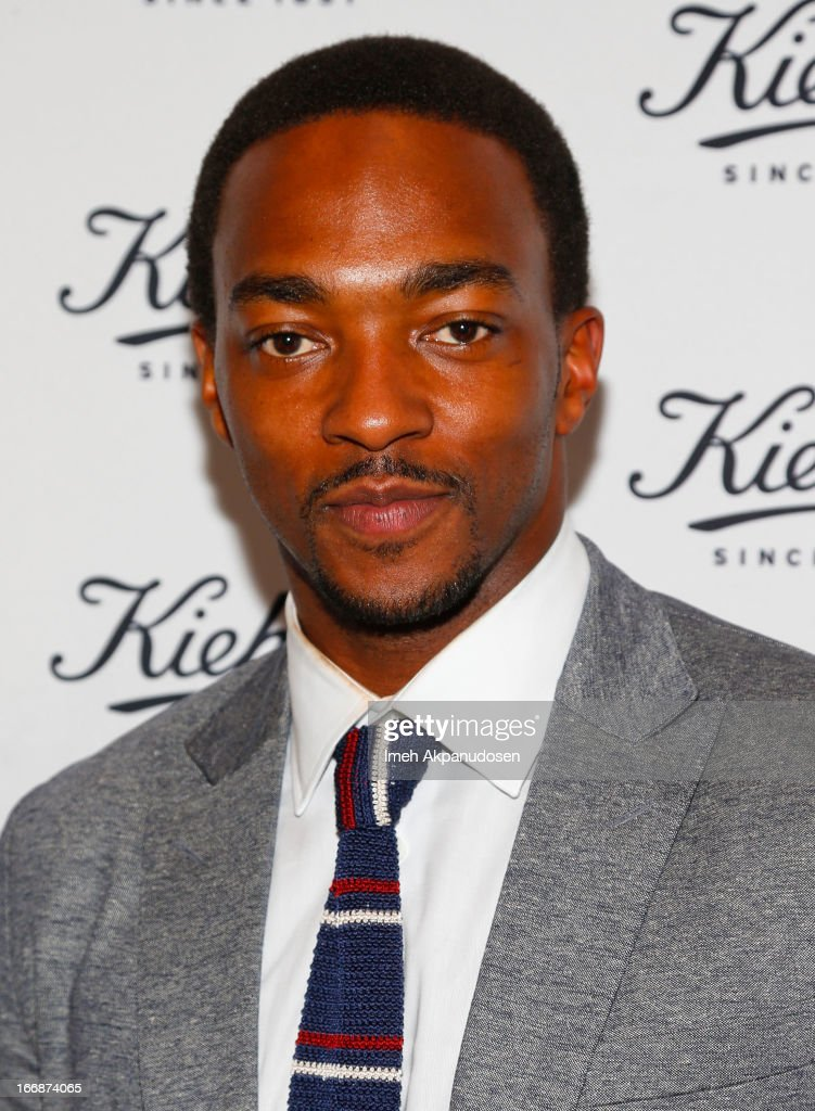 Actor <a gi-track='captionPersonalityLinkClicked' href=/galleries/search?phrase=Anthony+Mackie&family=editorial&specificpeople=206212 ng-click='$event.stopPropagation()'>Anthony Mackie</a> attends Kiehl's launch of an Environmental Partnership Benefiting Recycle Across America at Kiehl's Since 1851 Santa Monica Store on April 17, 2013 in Santa Monica, California.
