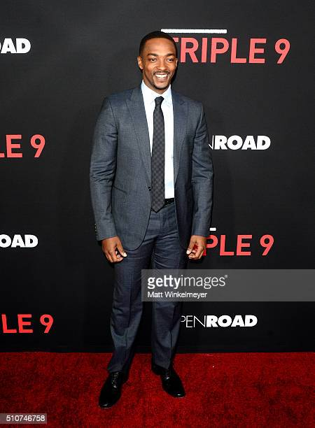 Actor Anthony Mackie attends the premiere of Open Road's 'Triple 9' at Regal Cinemas LA Live on February 16 2016 in Los Angeles California
