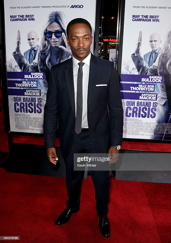 Actor Anthony Mackie attends the premiere of Warner Bros. Pictures' 'Our Brand Is Crisis' at TCL Chinese Theatre on October 26, 2015 in Hollywood, California.
