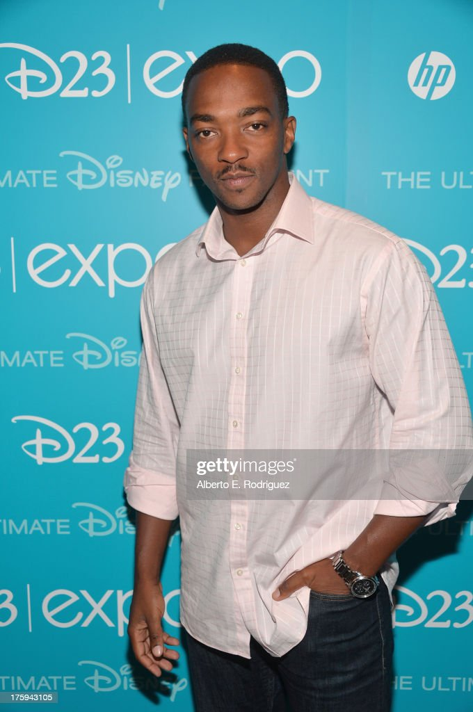 Actor <a gi-track='captionPersonalityLinkClicked' href=/galleries/search?phrase=Anthony+Mackie&family=editorial&specificpeople=206212 ng-click='$event.stopPropagation()'>Anthony Mackie</a> of 'Captain America: The Winter Soldier' attends 'Let the Adventures Begin: Live Action at The Walt Disney Studios' presentation at Disney's D23 Expo held at the Anaheim Convention Center on August 10, 2013 in Anaheim, California.