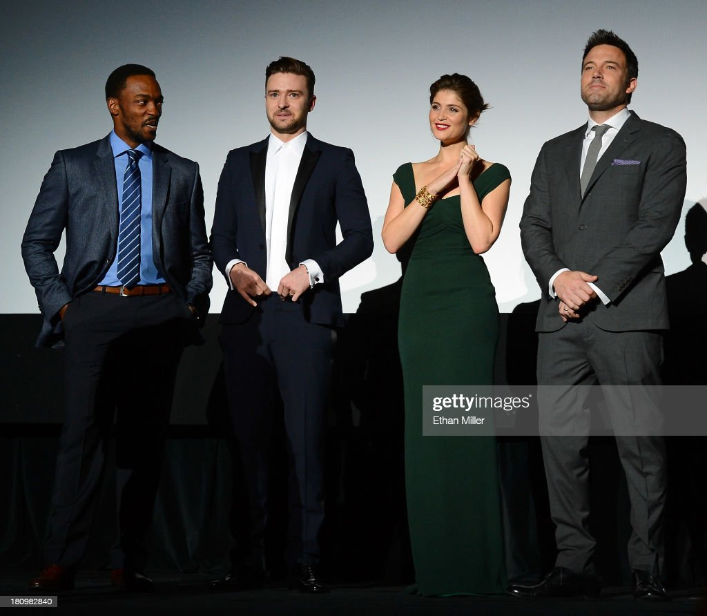 Actor Anthony Mackie, singer/actor Justin Timberlake, actress Gemma Arterton and actor/director Ben Affleck introduce the world premiere of Twentieth Century Fox and New Regency's film 'Runner Runner' at Planet Hollywood Resort & Casino on September 18, 2013 in Las Vegas, Nevada.