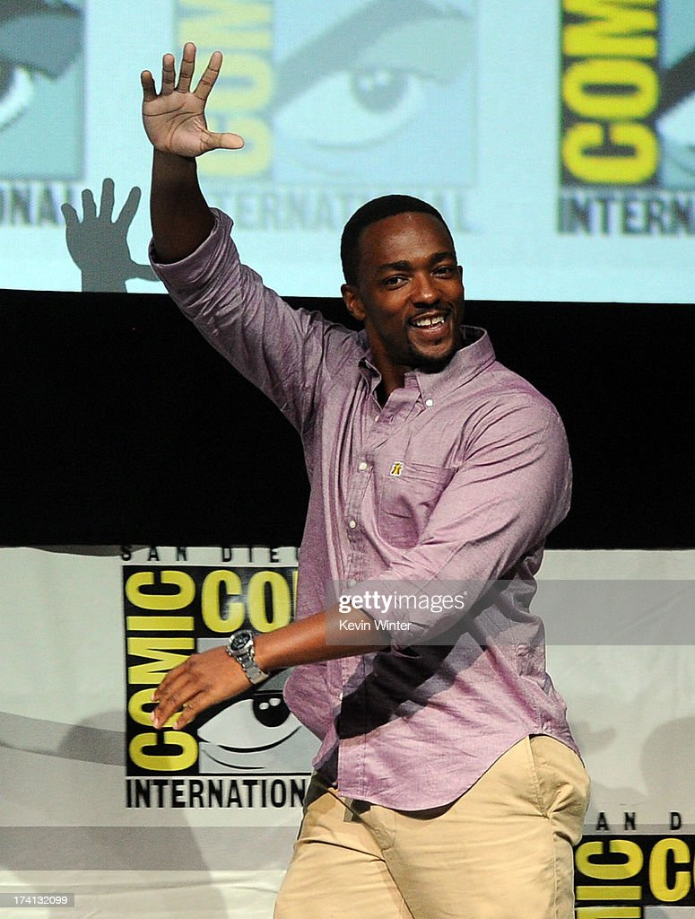 Actor <a gi-track='captionPersonalityLinkClicked' href=/galleries/search?phrase=Anthony+Mackie&family=editorial&specificpeople=206212 ng-click='$event.stopPropagation()'>Anthony Mackie</a> speaks onstage at Marvel Studios 'Thor: The Dark World' and 'Captain America: The Winter Soldier' during Comic-Con International 2013 at San Diego Convention Center on July 20, 2013 in San Diego, California.