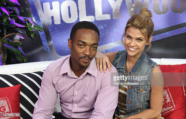 Actor Anthony Mackie visits with host Erika Ross at the Young Hollywood Studio on June 27 2012 in Los Angeles California