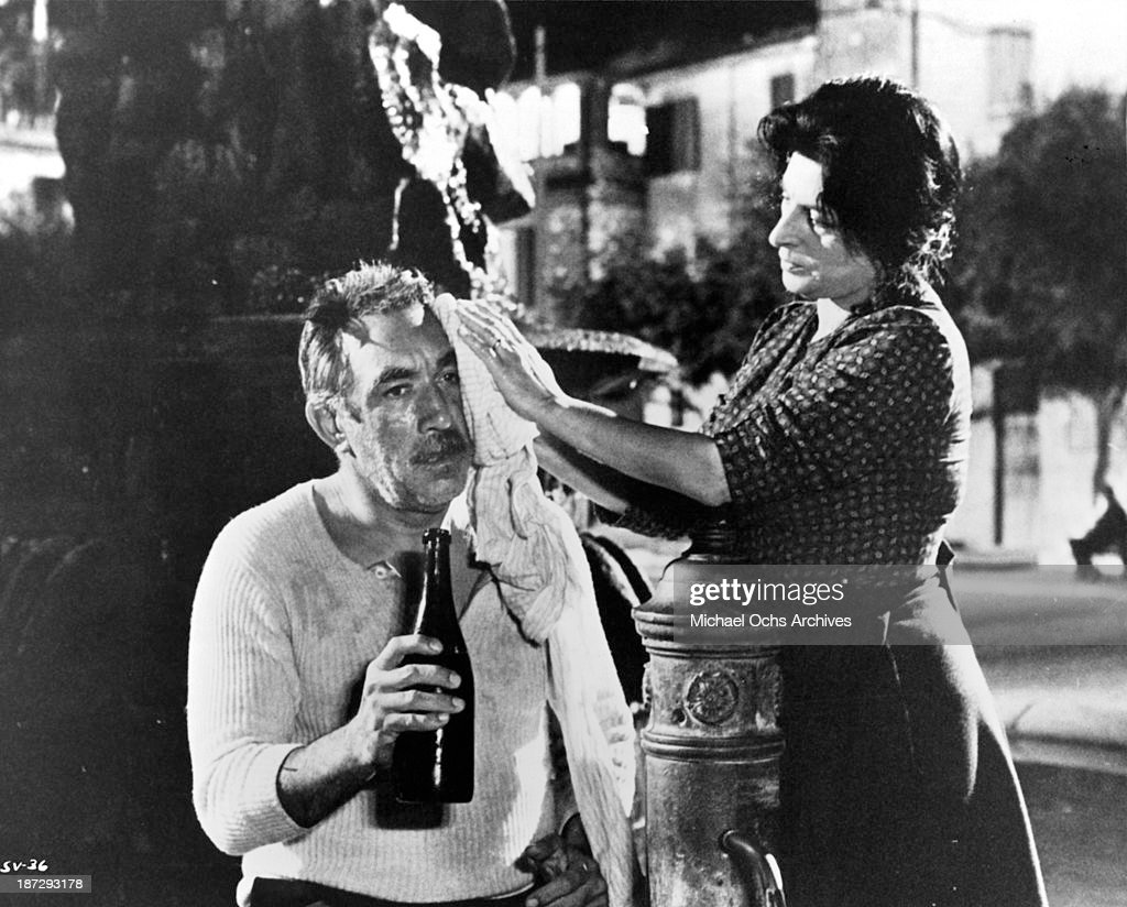 Actor Anthony Quinn and actress Anna Magnani on set of the United Artist movie 'The Secret of Santa Vittoria' in 1969