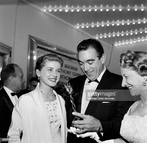 Actor Anthony Quinn receives an award before premiere of 'Wild is the Wind' in Los AngelesCA