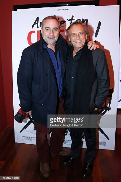 Actor Antoine Dulery and Director Alexandre Arcady attend the 'Arrete Ton Cinema ' Paris Premiere at Publicis Champs Elysees on January 6 2016 in...