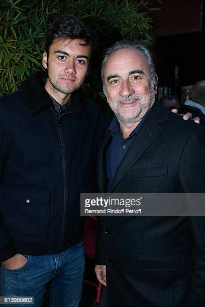 Actor Antoine Dulery and his son Raphael Dulery attend the 'Ivo Livi ou le destin d'Yves Montand' Theater Play at Theatre de la Gaite Montparnasse on...