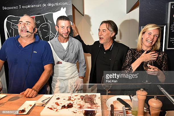 Actor Antoine Dulery Charal Chef Ludovic Robineau actor Richard Berry and TV presenter Louise Ekland attend the 'Charal' 30th Anniversary Pop Up...