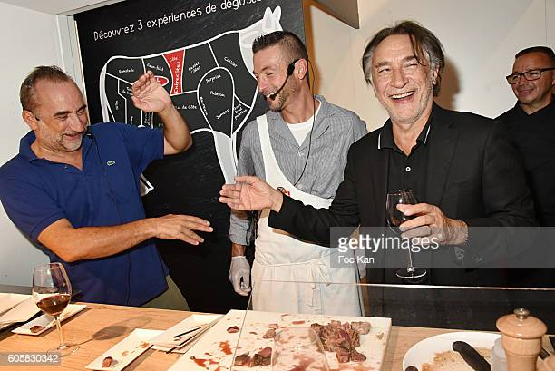 Actor Antoine Dulery Charal Chef Ludovic Robineau and actor Richard Berry attend the 'Charal' 30th Anniversary Pop Up Store Opening Party at Rue des...