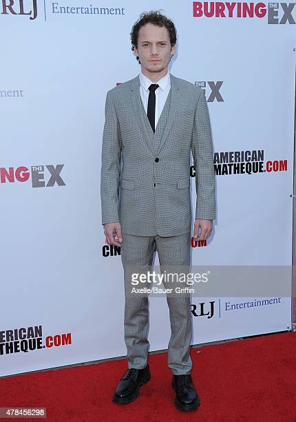 Actor Anton Yelchin attends the special advance screening of 'Burying The Ex' at American Cinematheque's Egyptian Theatre on June 11 2015 in...
