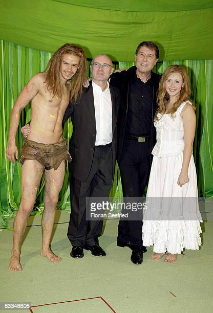Actor Anton Zerrerholm and singer and producer Phil Collins and singer Udo Juergens and actress Elisabeth Huebert attend the German premiere of...