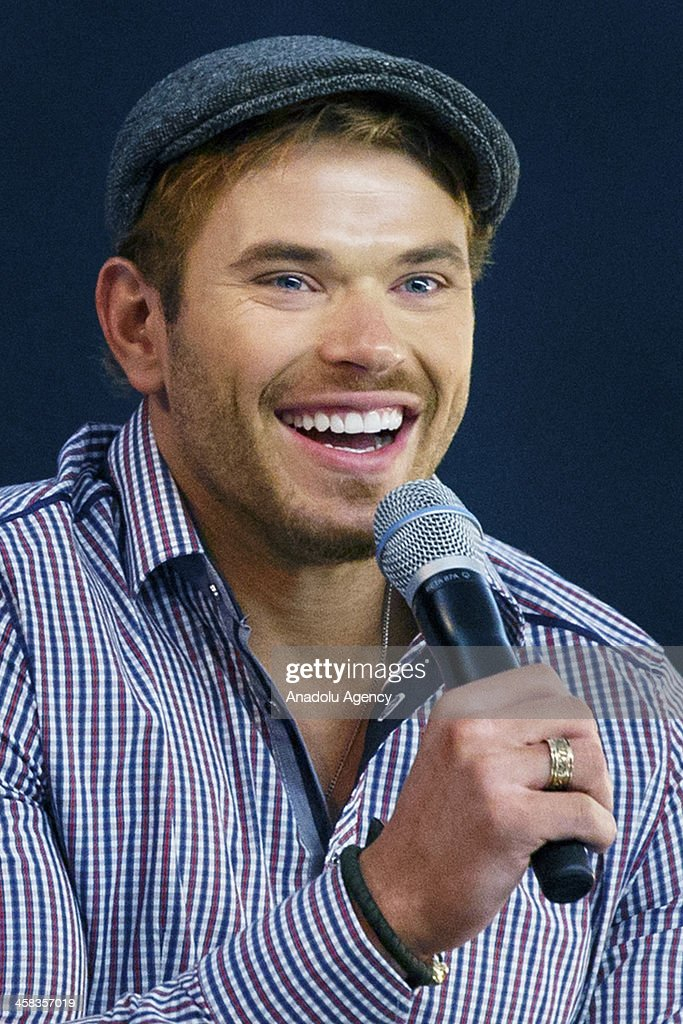 Actor Anton Zetterholm (not seen) and <a gi-track='captionPersonalityLinkClicked' href=/galleries/search?phrase=Kellan+Lutz&family=editorial&specificpeople=683287 ng-click='$event.stopPropagation()'>Kellan Lutz</a> discuss their latest film, Edgar Rice Burroughs 'Tarzan' and answer questions of their fans at Apple Store, Regent Street in London, England on April 24, 2014.