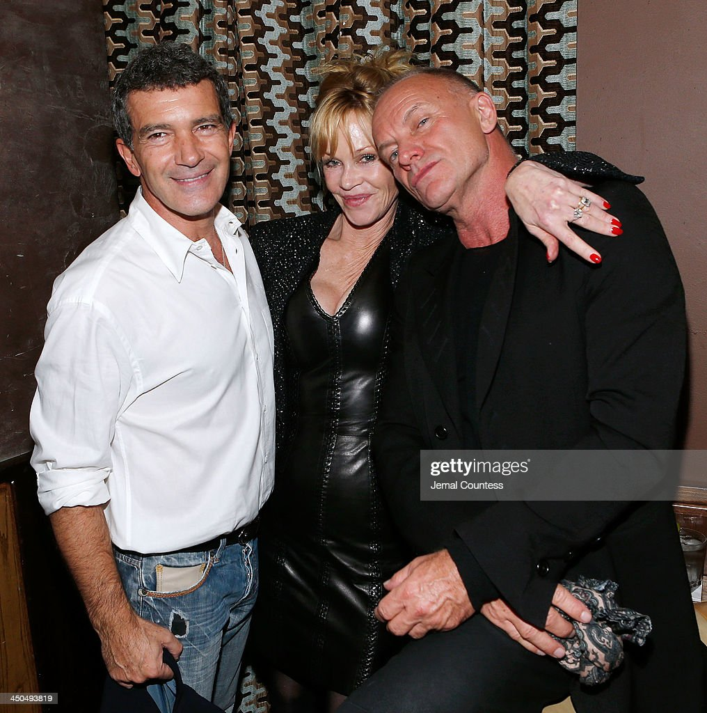 Actor <a gi-track='captionPersonalityLinkClicked' href=/galleries/search?phrase=Antonio+Banderas&family=editorial&specificpeople=171176 ng-click='$event.stopPropagation()'>Antonio Banderas</a>, actress <a gi-track='captionPersonalityLinkClicked' href=/galleries/search?phrase=Melanie+Griffith&family=editorial&specificpeople=171682 ng-click='$event.stopPropagation()'>Melanie Griffith</a> and musician Sting attend the after party for the 'Black Nativity' premiere at The Red Rooster on November 18, 2013 in New York City.
