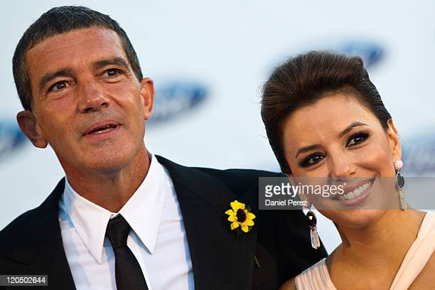 Actor Antonio Banderas and actress Eva Longoria arrive for the Starlite Charity Gala at the Villa Padierna hotel on August 6 2011 in Marbella Spain