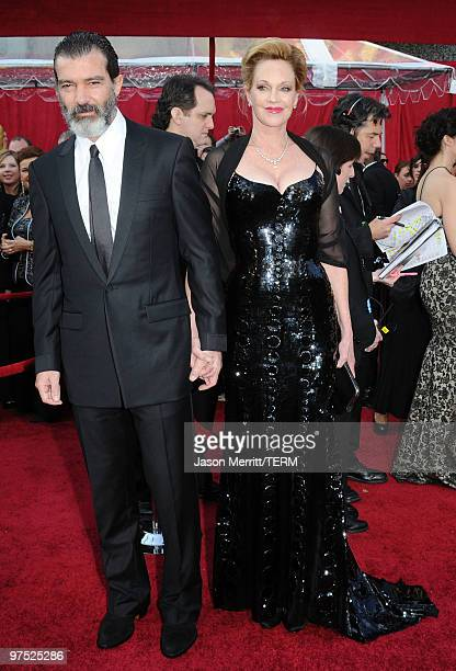 Actor Antonio Banderas and actress Melanie Griffith arrives at the 82nd Annual Academy Awards held at Kodak Theatre on March 7 2010 in Hollywood...