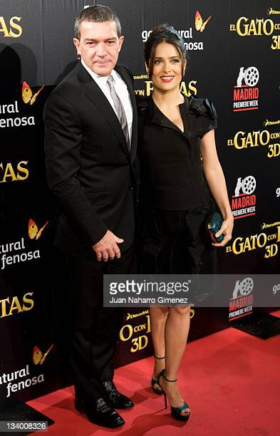 Actor Antonio Banderas and actress Salma Hayek attend the 'Puss in Boots' premiere at the Callao cinema on November 23 2011 in Madrid Spain