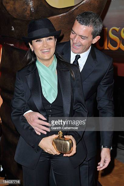 Actor Antonio Banderas and Actress Salma Hayek attend the UK film premiere of 'Puss In Boots' at Empire Leicester Square on November 24 2011 in...