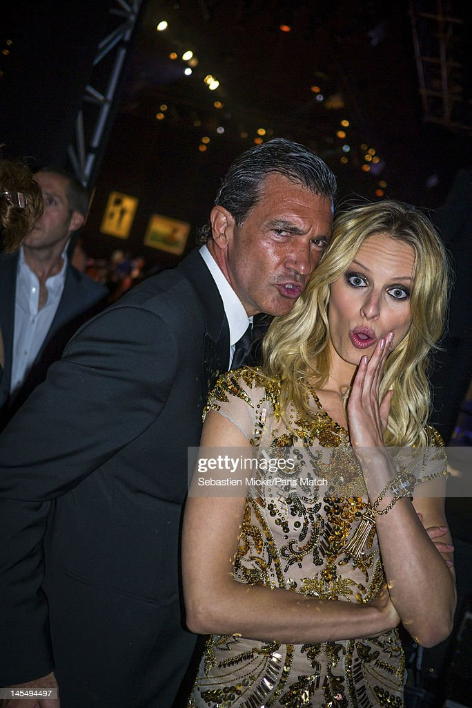 Actor Antonio Banderas and Karolina Kurkova, photographed at the amfAR Cinema Against AIDS gala, for Paris Match on May 24, 2012, in Cap d'Antibes, France.