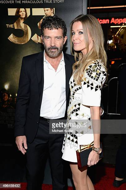 Actor Antonio Banderas and Nicole Kimpel attend the Centerpiece Gala Premiere of Alcon Entertainment's 'The 33' during AFI FEST 2015 presented by...