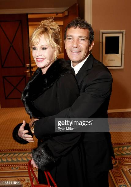 Actor Antonio Banderas and wife Melanie Griffith attend a Will Rogers Motion Picture Pioneers Foundation dinner honoring DreamWorks Animation CEO...