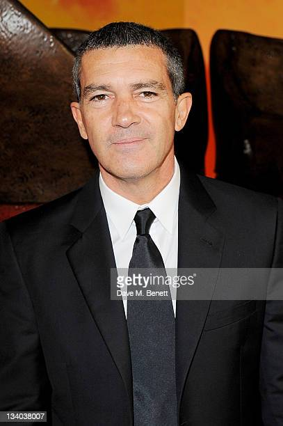 Actor Antonio Banderas arrives at the UK Premiere of 'Puss In Boots' at Empire Leicester Square on November 24 2011 in London England
