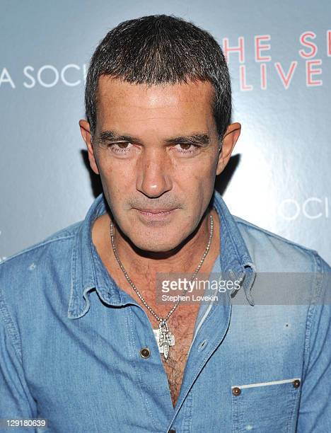 Actor Antonio Banderas attends the Cinema Society DeLeon Tequila screening of 'The Skin I Live In' at the Tribeca Grand Hotel on October 13 2011 in...