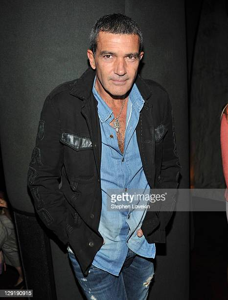 Actor Antonio Banderas attends the Cinema Society DeLeon Tequila screening after party for 'The Skin I Live In' at The Double Seven on October 13...