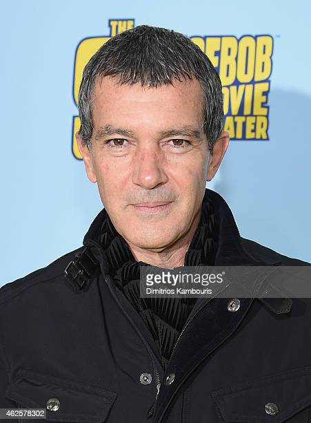 Actor Antonio Banderas attends the World Premiere of 'The SpongeBob Movie Sponge Out Of Water 3D' at the AMC Lincoln Square on January 31 2015 in New...